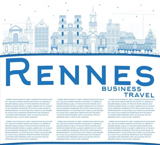 Umreißen sie die skyline der stadt rennes frankreich mit blauen gebäuden und textfreiraum. vektor-illustration. geschäftsreise- und tourismuskonzept mit historischer architektur. rennes-stadtbild mit sehenswürdigkeiten.