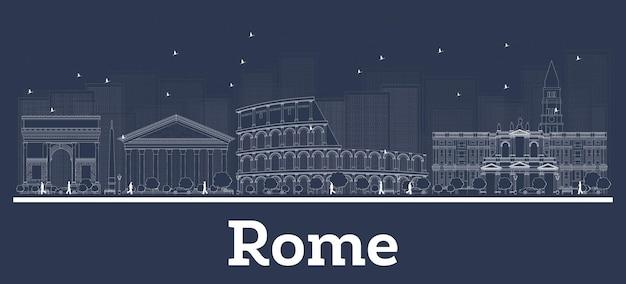 Umreißen sie die skyline der stadt rom italien mit weißen gebäuden. vektor-illustration. geschäftsreisen und konzept mit moderner architektur. rom stadtbild mit sehenswürdigkeiten