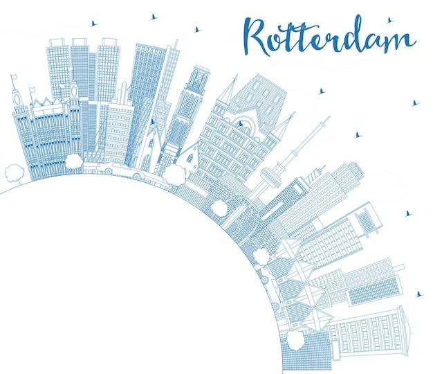 Umreißen sie die skyline der stadt rotterdam niederlande mit blauen gebäuden und textfreiraum. vektor-illustration. geschäftsreise- und tourismuskonzept mit moderner architektur. rotterdam-stadtbild mit sehenswürdigkeiten.