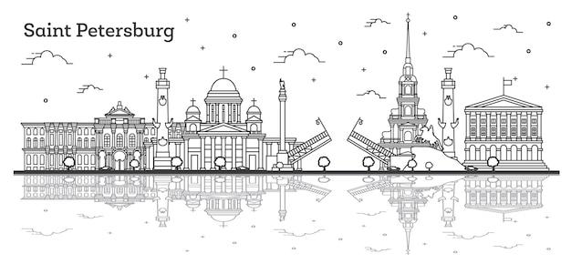 Umreißen sie die skyline der stadt sankt petersburg russland mit historischen gebäuden und reflexionen, isoliert auf weiss