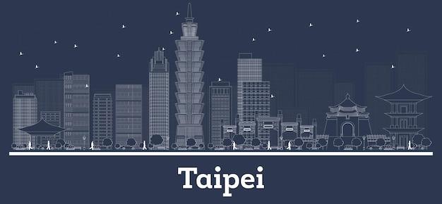Umreißen sie die skyline der stadt taipeh taiwan mit weißen gebäuden. vektor-illustration. geschäftsreisen und konzept mit moderner architektur. taipeh-stadtbild mit sehenswürdigkeiten.
