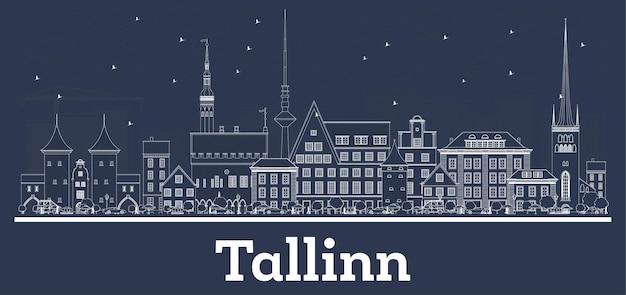 Umreißen sie die skyline der stadt tallinn estland mit weißen gebäuden. vektor-illustration. geschäftsreisen und konzept mit historischer architektur. tallinn-stadtbild mit sehenswürdigkeiten.