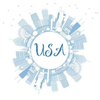 Umreißen sie die skyline der usa mit blauen wolkenkratzern, wahrzeichen und textfreiraum. vektor-illustration. geschäftsreise- und tourismuskonzept mit moderner architektur. bild für präsentationsbanner-plakat und web.