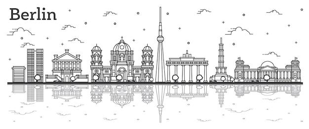 Umreißen sie die skyline von berlin deutschland mit historischen gebäuden und reflexionen, isoliert auf weiss