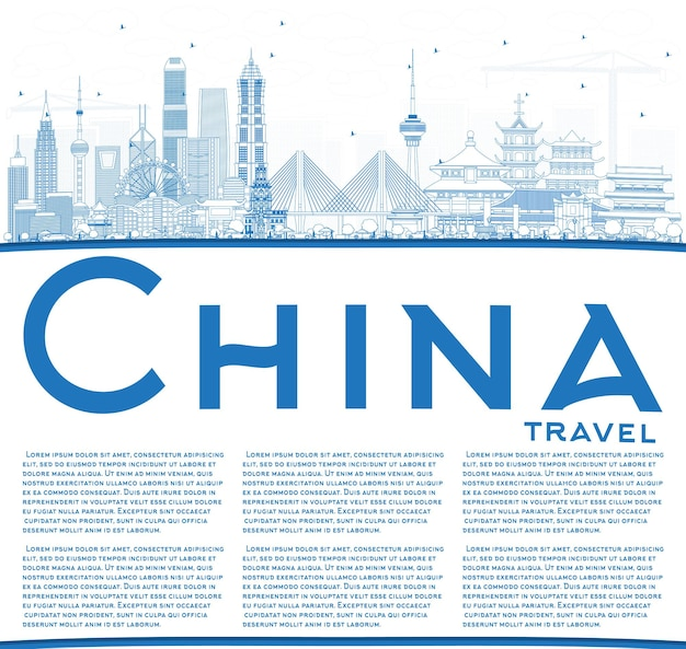 Umreißen sie die skyline von china mit textfreiraum. berühmte wahrzeichen chinas. vektor-illustration. geschäftsreise- und tourismuskonzept. bild für präsentation, banner, plakat und website.