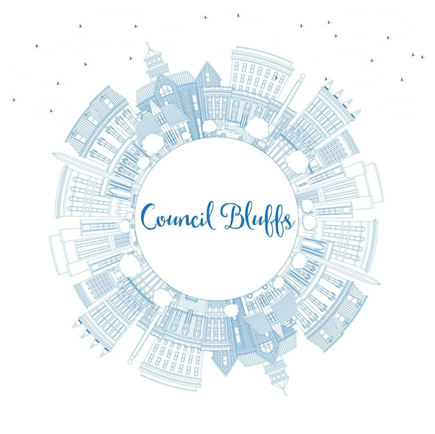 Umreißen sie die skyline von council bluffs von iowa mit blauen gebäuden und textfreiraum. vektor-illustration. geschäftsreise- und tourismusillustration mit historischer architektur.