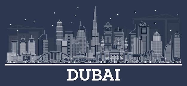 Umreißen sie die skyline von dubai vae mit moderner architektur. vektor-illustration.