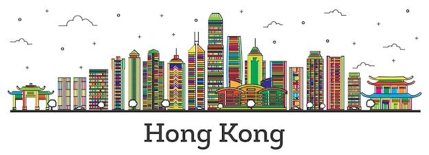 Umreißen sie die skyline von hong kong china mit farbe gebäude, isolated on white. vektor-illustration. hong kong-stadtbild mit sehenswürdigkeiten.