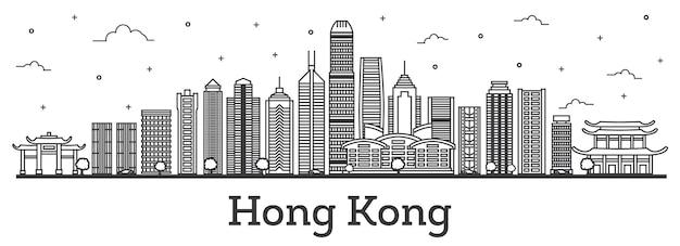 Umreißen sie die skyline von hong kong china mit modernen gebäuden, isolated on white. vektor-illustration. hong kong-stadtbild mit sehenswürdigkeiten.