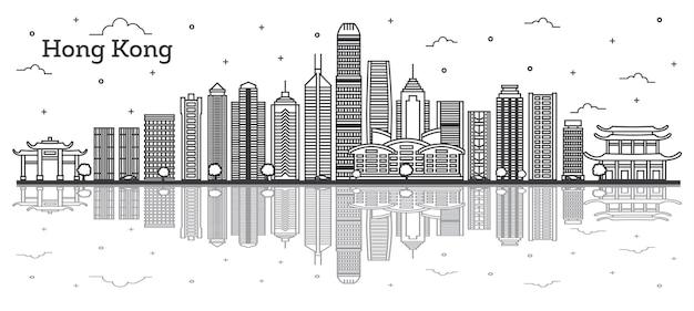 Umreißen sie die skyline von hong kong china mit modernen gebäuden und reflexionen, isolated on white. vektor-illustration. hong kong-stadtbild mit sehenswürdigkeiten.