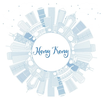Umreißen sie die skyline von hongkong mit blauen gebäuden und textfreiraum. vektor-illustration. geschäftsreise- und tourismuskonzept mit moderner architektur. hong kong-stadtbild mit sehenswürdigkeiten.