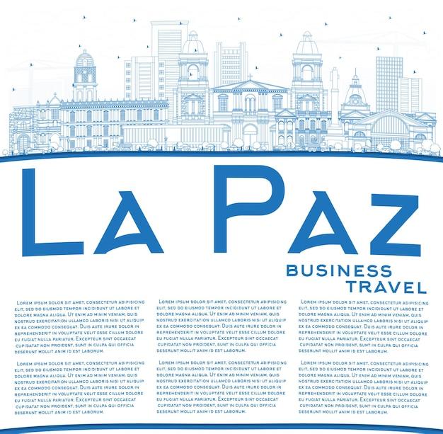 Umreißen sie die skyline von la paz bolivien mit blauen gebäuden und textfreiraum. illustration
