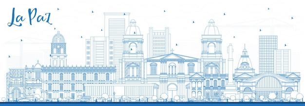 Umreißen sie die skyline von la paz bolivien mit blauen gebäuden. vektor-illustration. geschäftsreise- und tourismuskonzept mit historischer architektur. la paz-stadtbild mit sehenswürdigkeiten.