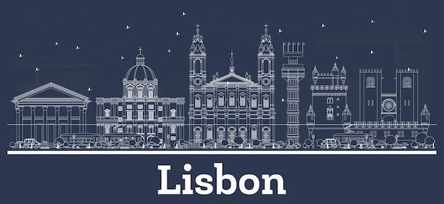 Umreißen sie die skyline von lissabon portugal mit weißen gebäuden. vektor-illustration. geschäftsreise- und tourismuskonzept mit historischer architektur. lissabon-stadtbild mit sehenswürdigkeiten.