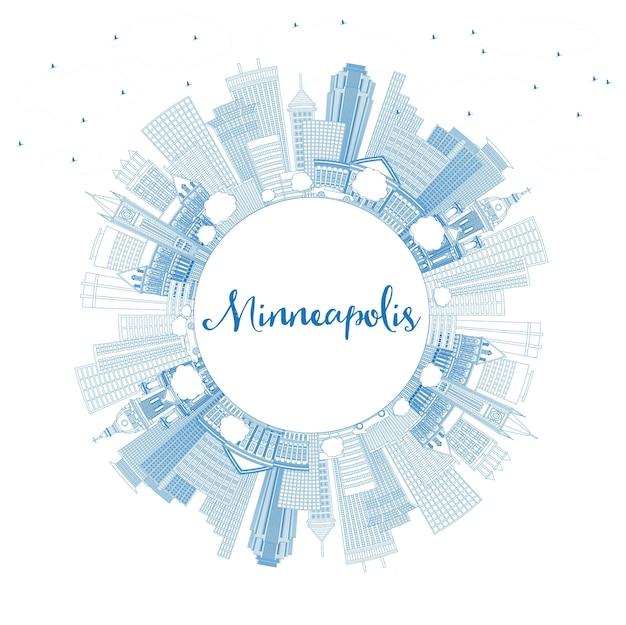 Umreißen sie die skyline von minneapolis minnesota mit blauen gebäuden und textfreiraum. vektor-illustration. geschäftsreise- und tourismuskonzept mit moderner architektur. minneapolis usa stadtbild mit wahrzeichen.
