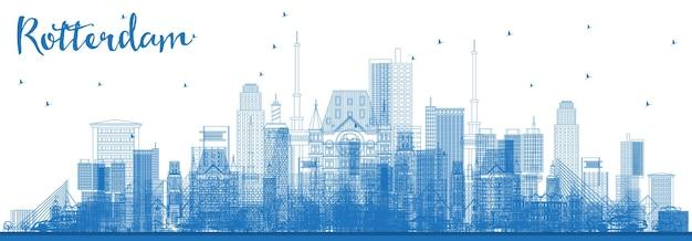 Umreißen sie die skyline von rotterdam niederlande mit blue buildings illustration