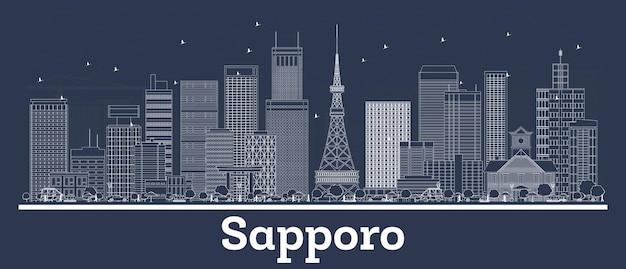 Umreißen sie die skyline von sapporo japan mit weißen gebäuden. vektor-illustration. geschäftsreisen und konzept mit moderner architektur. sapporo-stadtbild mit sehenswürdigkeiten.