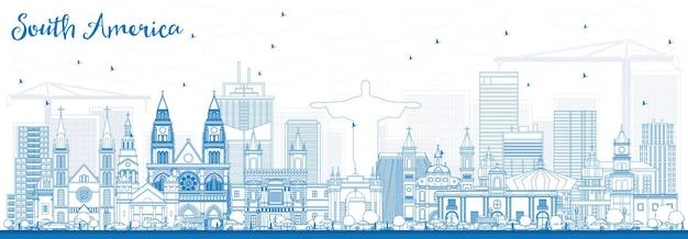 Umreißen sie die skyline von südamerika mit berühmten sehenswürdigkeiten. vektor-illustration. geschäftsreise- und tourismuskonzept. bild für präsentation, banner, plakat und website.