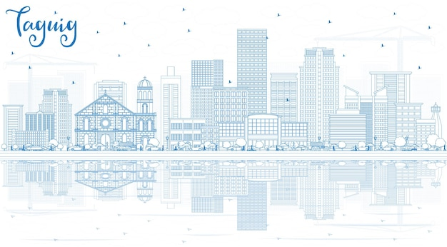 Umreißen sie die skyline von taguig philippinen mit blauen gebäuden und reflexionen. vektor-illustration. geschäftsreise- und tourismuskonzept mit moderner architektur. taguig-stadtbild mit sehenswürdigkeiten.