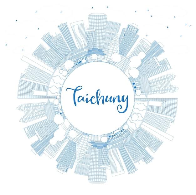 Umreißen sie die skyline von taichung taiwan mit blauen gebäuden und textfreiraum. vektor-illustration. geschäftsreise- und tourismuskonzept mit historischer architektur. taichung china stadtbild mit sehenswürdigkeiten.