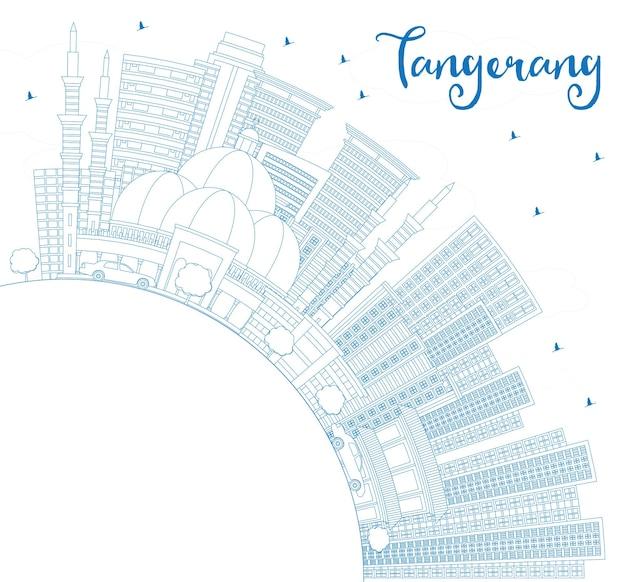 Umreißen sie die skyline von tangerang indonesien mit blauen gebäuden und textfreiraum. vektor-illustration. reise- und tourismuskonzept mit moderner architektur. tangerang-stadtbild mit sehenswürdigkeiten.