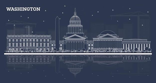 Umreißen sie die skyline von washington dc mit weißen gebäuden und reflexionen. vektor-illustration. geschäftsreise- und tourismuskonzept mit historischen gebäuden. washington dc-stadtbild mit sehenswürdigkeiten.