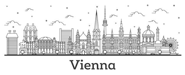 Umreißen sie die skyline von wien österreich mit historischen gebäuden, isolated on white. vektor-illustration. wiener stadtbild mit wahrzeichen.