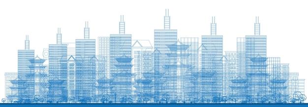 Umreißen sie die wolkenkratzer der stadt in blauer farbe. vektor-illustration. geschäftsreise- und tourismuskonzept. bild für präsentation, banner, plakat und website. stadtbild mit wolkenkratzern.