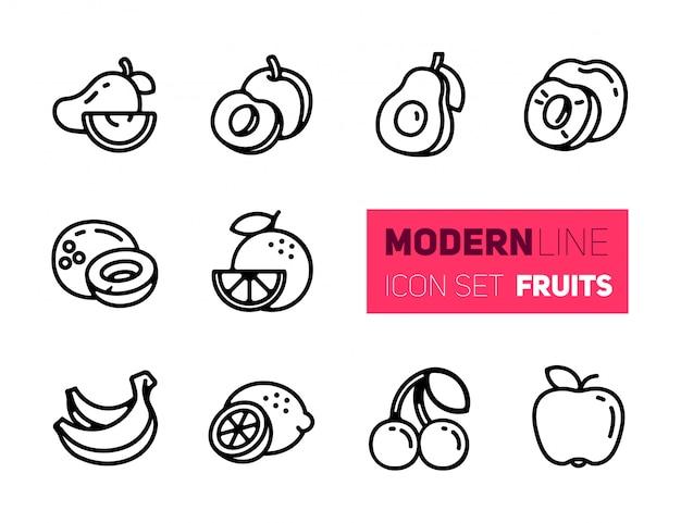 Umreißen sie ikonen eingestellt von den früchten