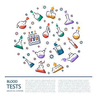 Umreißen sie ikonen im runden rahmen - laborflasche, messbecher, reagenzglas, für medizinisches screening, wissenschaftliches experiment