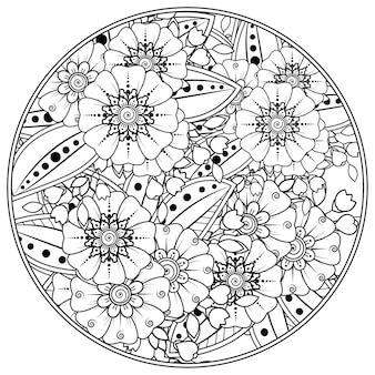 Umreißen sie kreisblumen im mehndi-stil zum ausmalen von seitengekritzelverzierungen in schwarz-weißer handzeichnung