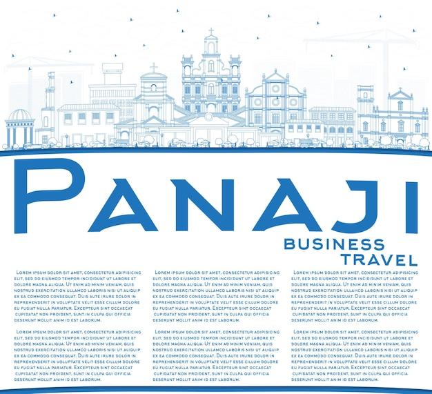 Umreißen sie panaji india city skyline mit blauen gebäuden und textfreiraum. vektor-illustration. geschäftsreise- und tourismuskonzept mit historischer architektur. panaji-stadtbild mit sehenswürdigkeiten.