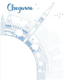 Umreißen sie skyline cheyennes (wyoming) mit blauen gebäuden und kopieren sie raum