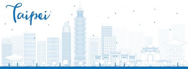 Umreißen sie taipeh-skyline mit blauem marksteinfahnenhintergrund
