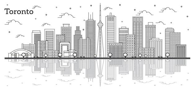 Umreißen sie toronto kanada city skyline mit modernen gebäuden und reflexionen, isolated on white. vektor-illustration. toronto-stadtbild mit sehenswürdigkeiten.