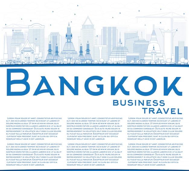 Umriss bangkok skyline mit blauen orientierungspunkten, textvorlage