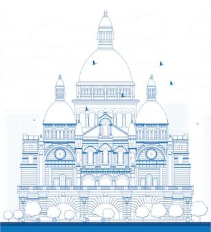 Umriss basilika des heiligen herzens, paris, frankreich