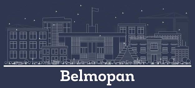 Umriss belmopan belize city skyline mit weißen gebäuden