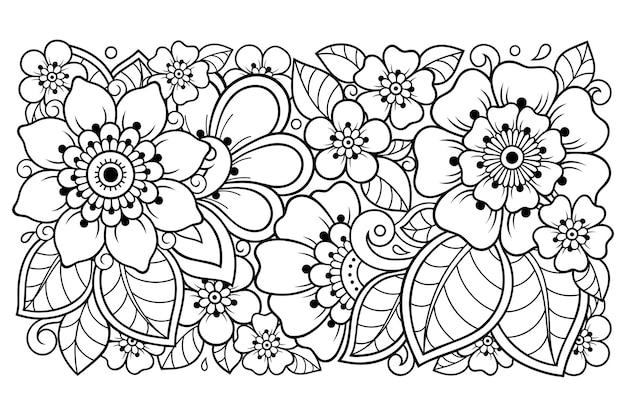 Umriss blumenmuster im mehndi-stil für malbuchseite. gekritzelverzierung in schwarzweiss. handzeichnung illustration.