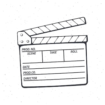 Umriss der offenen klappe, die im kino bei der aufnahme eines films verwendet wird vektorillustration