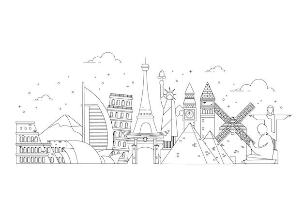 Umriss der sehenswürdigkeiten skyline