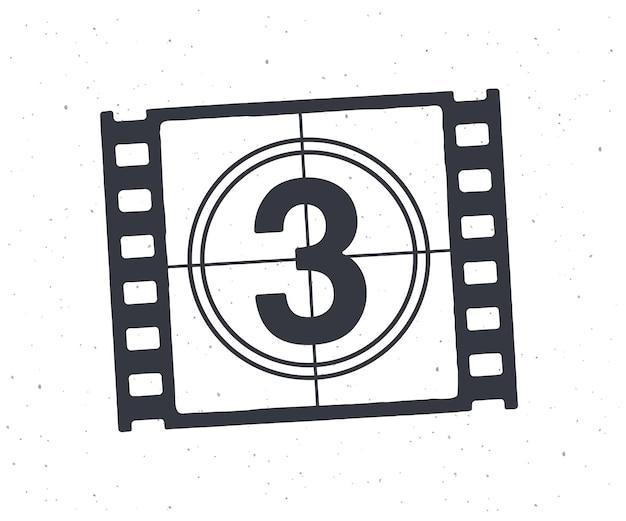 Umriss des filmstreifenteils mit countdown-timer retro-rahmen der filmstreifen-vektorillustration