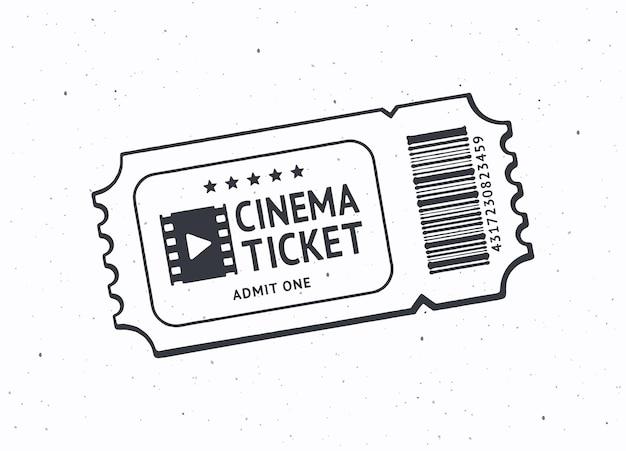 Umriss einer kinokarte mit barcode retro-gutschein aus papier für den filmeintritt vektor-illustration
