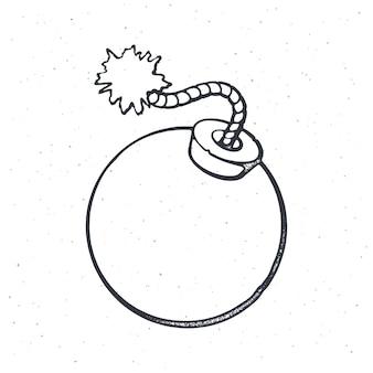 Umriss einer kugelförmigen bombe mit brennendem sicherungsseil vektor-illustration