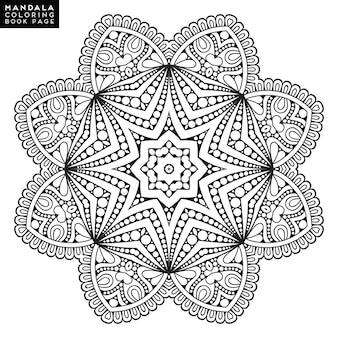 Umriss mandala für malbuch. dekorative runde verzierung. anti-stress-therapie-muster. webendes design-element. yoga-logo, hintergrund für meditation poster. ungewöhnliche blütenform orientalischer vektor.