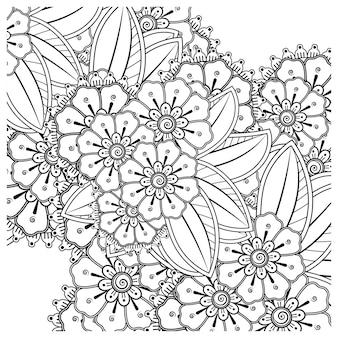 Umriss quadratisches blumenmuster im mehndi-stil zum ausmalen von buchseiten-doodle-ornamenten in schwarz-weißer handzeichnungsillustration