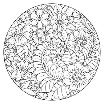 Umriss rundes blumenmuster im mehndi-stil für malbuchseite. gekritzelverzierung in schwarzweiss. handzeichnung illustration.