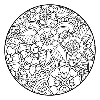 Umriss rundes blumenmuster im mehndi-stil zum ausmalen. gekritzelverzierung in schwarzweiss. handzeichnung illustration.
