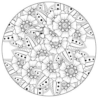 Umriss rundes blumenmuster im mehndi-stil zum ausmalen von buchseiten-doodle-ornamenten in schwarz-weißer handzeichnungsillustration