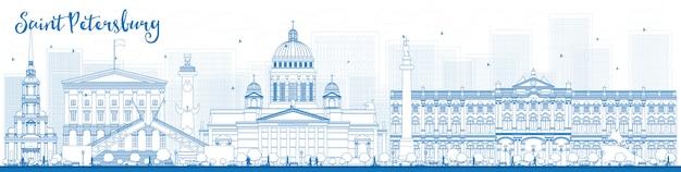Umriss sankt petersburg skyline mit blauen sehenswürdigkeiten